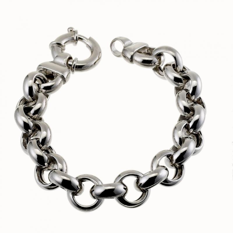 taille 40 7feb2 6db90 Achat Bracelet en argent rhodié maille jaseron : Longueur ...