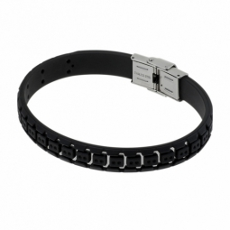 Bracelet en acier et caoutchouc noir