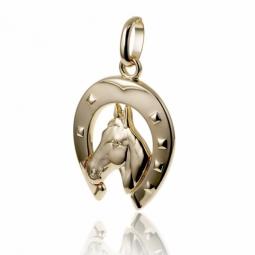 Pendentif fer et tête de cheval en plaqué or
