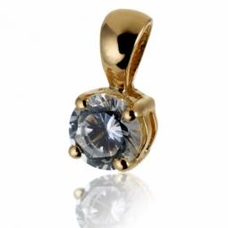Pendentif en or jaune, diamant, 4 griffes