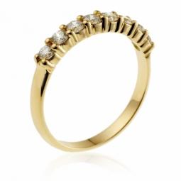 demi alliance serti 4 griffes or jaune diamants