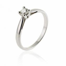 Bague solitaire en or gris, diamant 0,18 carats,  4 griffes