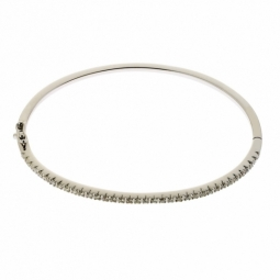 Bracelet jonc en or gris, diamants