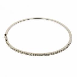 Bracelet jonc en or gris, diamants