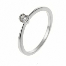 Bague solitaire en or gris, diamant, serti demi clos