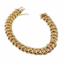 Bracelet en plaqué or, maille américaine ciselée