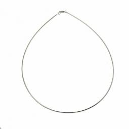 Collier câble en argent rhodié maille oméga