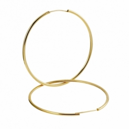 Créoles en plaqué or, fil 15/10 et diamètre 50 mm