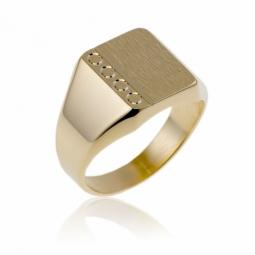 Chevalière tonneau en plaqué or diamantée sur les côtés