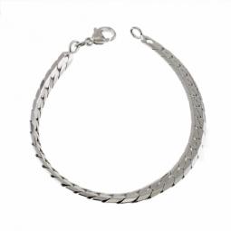 Bracelet en argent rhodié maille anglaise