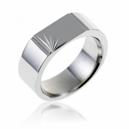 Chevalière en argent rhodié, plateau diamanté