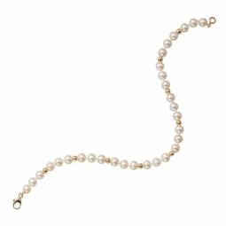Bracelet en or jaune 1/3, perles de culture d'eau douce 5,5/6mm, fermoir mousqueton