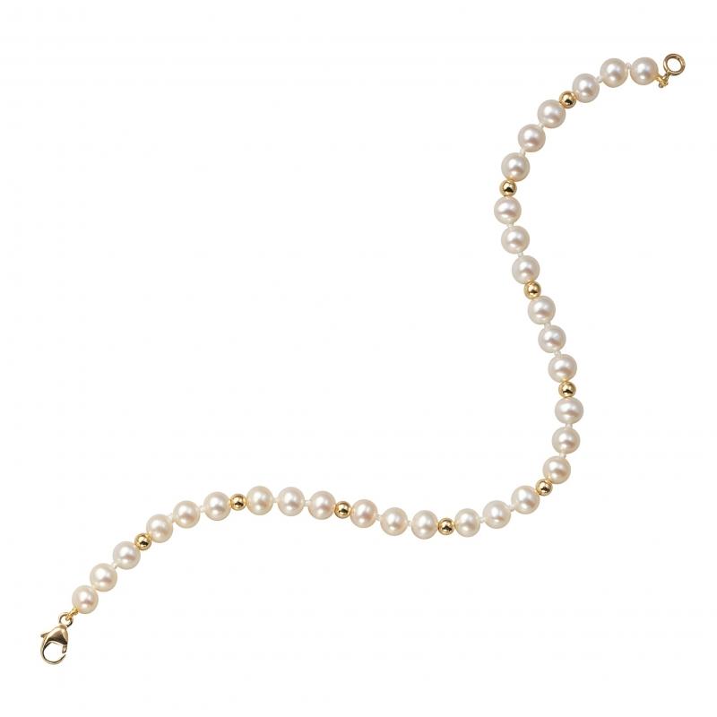 achat bracelet femme or jaune g perle de culture eau douce ct le man ge bijoux. Black Bedroom Furniture Sets. Home Design Ideas