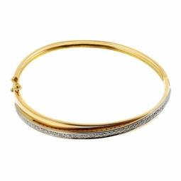 Bracelet jonc ouvrant en 2 ors, diamants