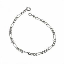 Bracelet en argent rhodié, maille cheval alternée 1-3