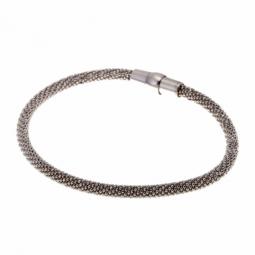 Bracelet en argent rhodié, acier et silicone