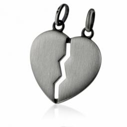 Pendentif coeur sécable en argent vieilli