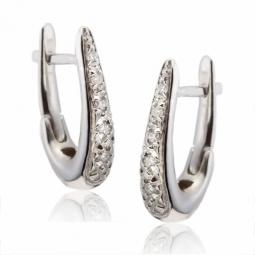 Créoles en or gris, diamants