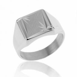 Chevalière carrée en argent rhodié, diamantée soleil