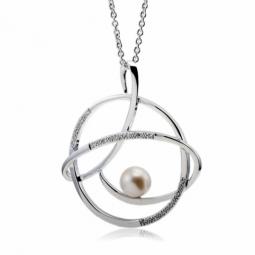 Collier en argent rhodié, motif spirale, perle de culture et oxydes de zirconium