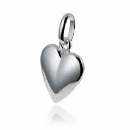 Pendentif coeur en argent rhodié