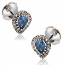 Boucles d'oreilles en or gris, saphir entourage diamants
