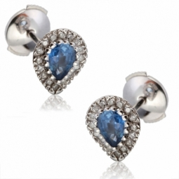 Boucles d'oreilles en or gris, saphir entourage diamants
