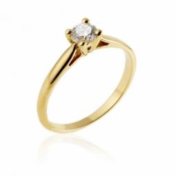 Bague solitaire en or jaune, diamant, 4 griffes
