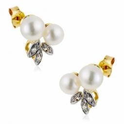 Boucles d'oreilles en or rhodié, perles de culture et diamants