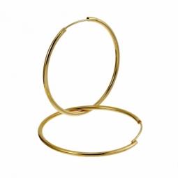Créoles en plaqué or, fil 15/10 et diamètre 40 mm