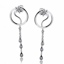 Boucles d'oreilles en or gris et oxydes de zirconium