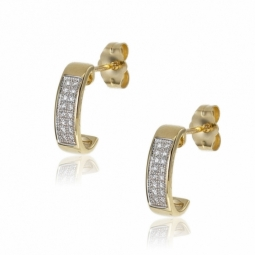 Boucles d'oreilles en or jaune rhodié, diamants