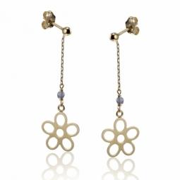 Boucles d'oreilles en or jaune fleur et oxyde de zirconium