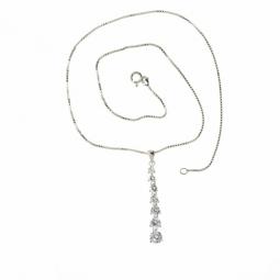 Collier en argent rhodié, oxydes de zirconium et maille vénitienne