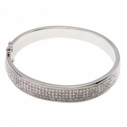 Bracelet jonc en argent rhodié, pavage oxydes de zirconium