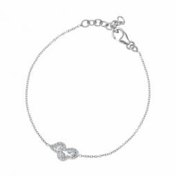 Bracelet en argent rhodié, oxydes de zirconium
