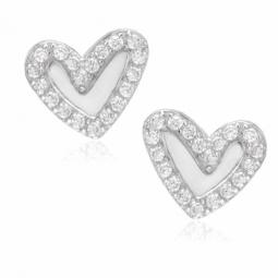 Boucles d'oreilles en argent rhodié et oxydes de zirconium, coeur