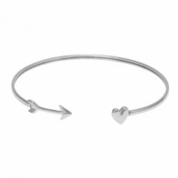 Bracelet jonc en argent rhodié et fil intérieur en acier, coeur et flèche