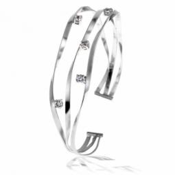 Bracelet jonc en argent rhodié et oxydes de zirconium
