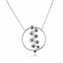Collier en argent rhodié, fleurs saphirs et oxydes de zirconium