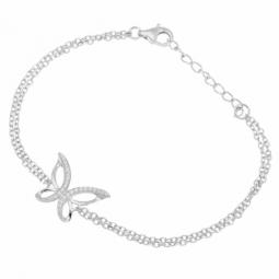 Bracelet en argent rhodié et oxydes de zirconium, papillon