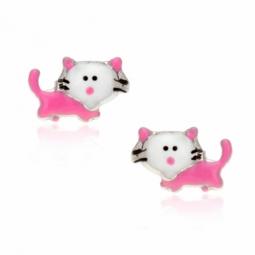 Boucles d'oreilles en argent rhodié et laque, chat