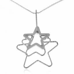 Collier en argent rhodié, motif étoile