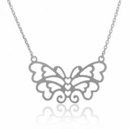 Collier en argent rhodié, papillon