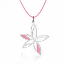 Collier en argent rhodié, cordon, fleur laque blanche et rose