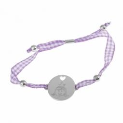 Bracelet en argent rhodié, jeton et tissu vichy
