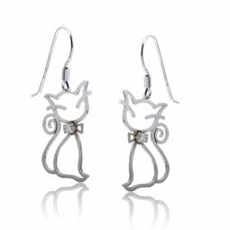 Boucles d'oreilles en argent rhodié, chat et oxyde de zirconium