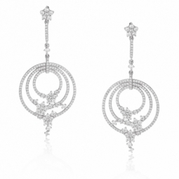 Boucles d'oreilles en argent rhodié, spirale et oxydes de zirconium