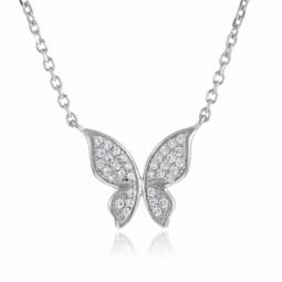 Collier en argent rhodié, papillon oxydes de zirconium