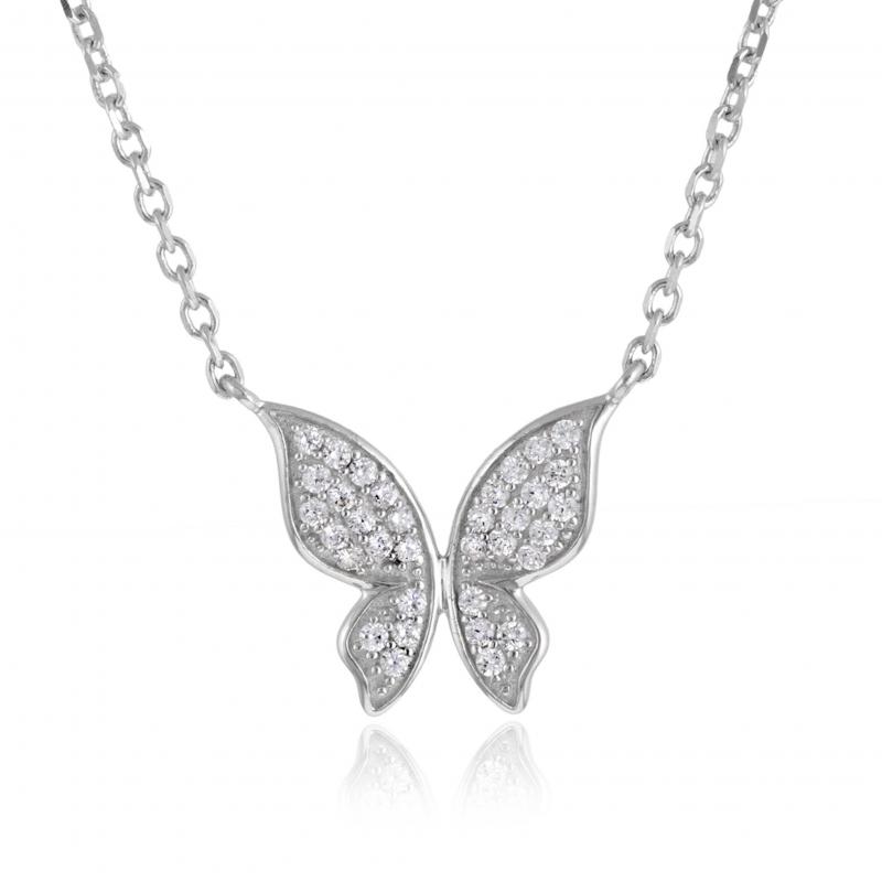 Achat Collier en argent rhodié, papillon oxydes de zirconium ... 8e666ae03e8f